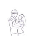 silhouette couple embracing looking at each other vector image vector image