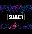 summer night tropic background with palm leaves vector image vector image
