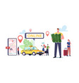 taxi service characters ordering using vector image vector image