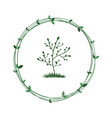 tree in a green wreath ecological symbol of vector image vector image
