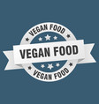 vegan food ribbon vegan food round white sign vector image vector image
