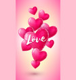 vertical banner with pink origami hearts vector image