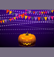 violet background with party flags and jack-o vector image
