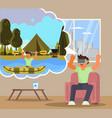 virtual reality rafting flat vector image