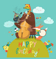 cute birthday card with animals and music vector image