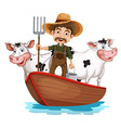 A boat with a man and two cows vector image