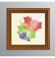 abstract painting in a wooden frame vector image vector image