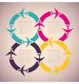 Background with colorful airplanes vector image vector image
