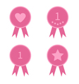 Badge set with heart star number one and ribbons vector image vector image