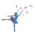 Ballet dancer isolated on white background vector image