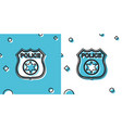 black police badge icon isolated on blue and white vector image vector image