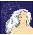 blond woman at night with moon stock vector image vector image