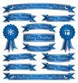 blue christmas ribbons vector image vector image