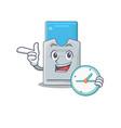 cartoon character style key card having clock vector image vector image