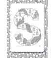 cartoon letter s drawn in the shape of house vector image