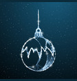 christmas balls low poly decoration on blue vector image vector image