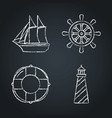 collection of nautical icon sketches on chalkboard vector image vector image
