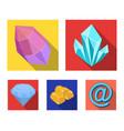 crystals minerals gold bars precious minerals vector image vector image