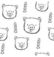 Cute pigs characters pink seamless pattern