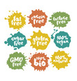 eco vegan food labels set on color inkblots vector image