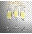 festive champagne glasses and golden confetti vector image