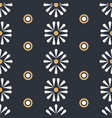 folk daisies with dots on dark seamless vector image