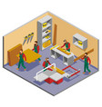 furniture makers isometric composition vector image