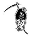 grim reaper out coffin with flowers vector image