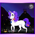 halloween cartoon of beautiful unicorn on night vector image vector image
