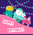 happy birthday with cute vector image vector image