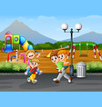 happy children playing on the road vector image vector image