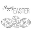 happy easter black and white poster three egg set vector image vector image