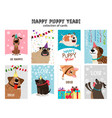 happy new year puppy cards vector image vector image