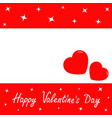 happy valentines day two red hearts romantic vector image
