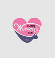 heart logo and pink happy international womens vector image