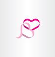 heart ribbon design element vector image vector image