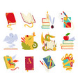 icons of books set with dragon bird vector image vector image
