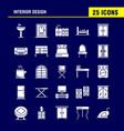 interior design solid glyph icons set for vector image