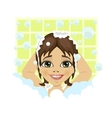 little cute girl washing her hair with soap foam vector image vector image