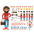 man constructor separate parts of male person vector image vector image