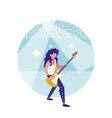 man playing electric guitar isolated icon vector image vector image