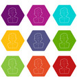 man question icons set 9 vector image vector image
