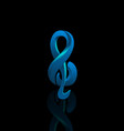 musical blue note on black background vector image