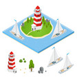 nautical lighthouse isometric view vector image vector image