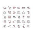 online shopping filled outline icon set vector image vector image