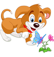 Puppy and Butterfly vector image vector image