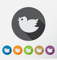 round bird icons set vector image