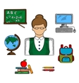 School teacher profession and education icons vector image
