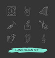 set of music icons line style symbols with trumpet vector image
