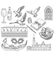 set of venice sketch black and white vector image